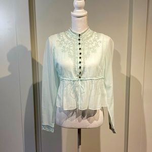 Chloe cotton embroidered peasant top